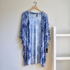 Torrid Blue Tie Dye Mesh Kimono Size 3/4